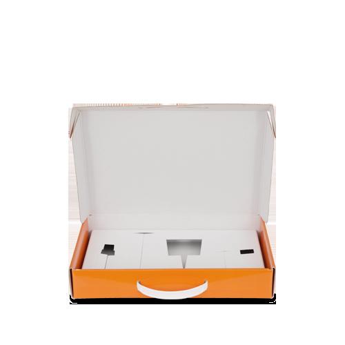 Valigetta in cartone con manico in plastica per prodotti tricologici
